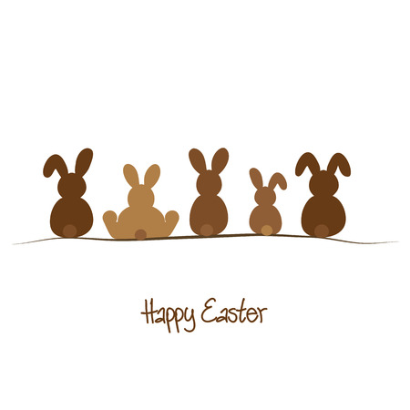 Happy Easter background with five brown rabbits