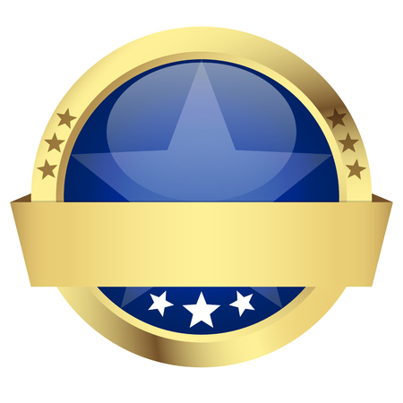 customercare: template of blue button with golden frame and banner Illustration