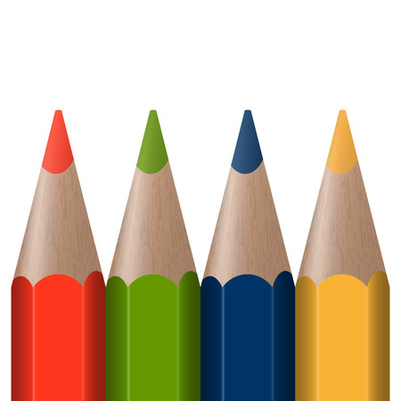 color range: four colored pens in a row with white background