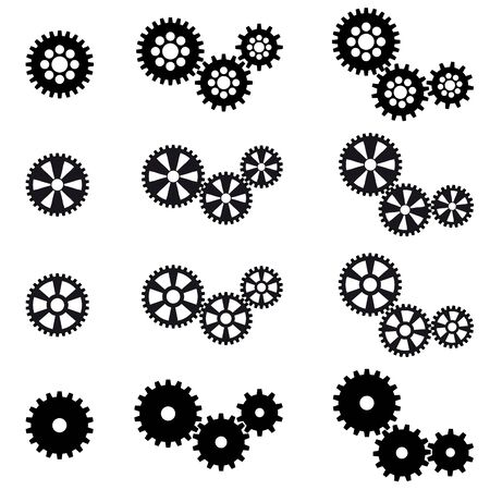 technically: collection of black gears for cooperation or teamwork symbolism Illustration
