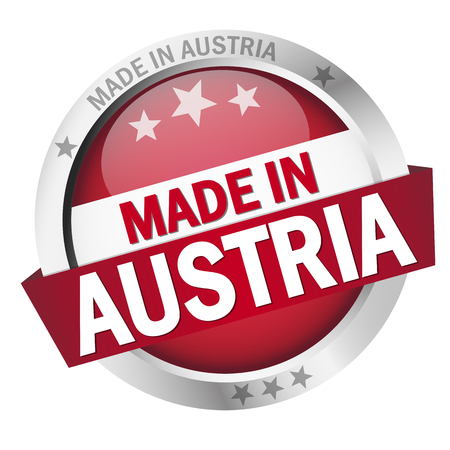 banderole: round button with banner, country flag and text MADE IN AUSTRIA