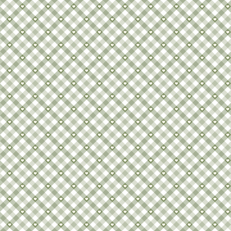 tablecloth: green checkered table cloth background with white hearts Illustration