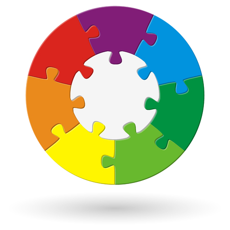 merge together: round puzzle with base and seven options in different colors