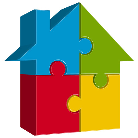 condominium: three dimensional puzzle house with four colored parts