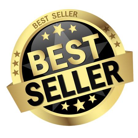 Bouton rond de couleur avec la bannière Best Seller Banque d'images - 45315667