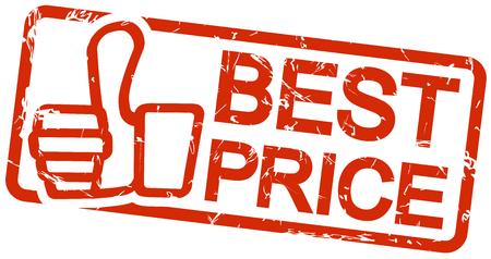 Red Grunge Stempel mit Rahmen, Daumen nach oben und Text BEST PRICE Standard-Bild - 45315690