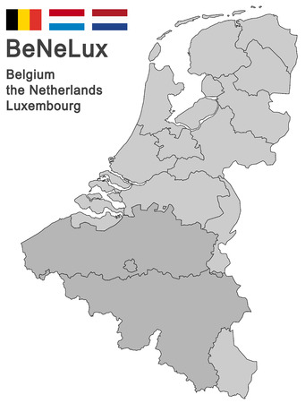 north brabant: silhouettes of the netherlands, Luxembourg and Belgium Illustration
