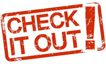 Red Grunge Stempel mit Rahmen, große Ausrufezeichen und Text CHECK IT OUT Standard-Bild - 45315703
