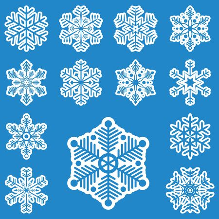 festively: collection of different white snowflakes on blue background