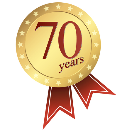 70 years: gold jubilee button 70 years Illustration