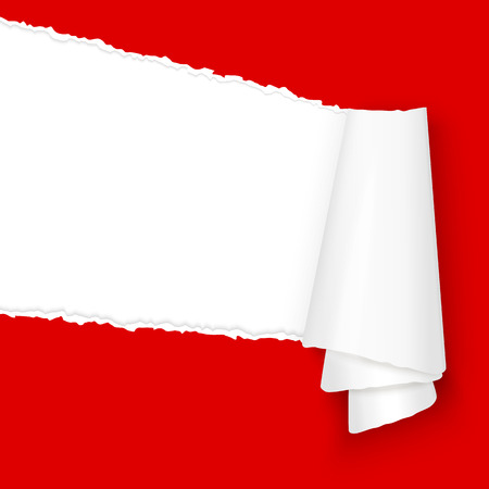 colored paper: vector of ripped open paper colored red Illustration