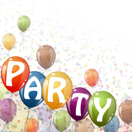 flying colored balloons with ribbons, confetti and text Party