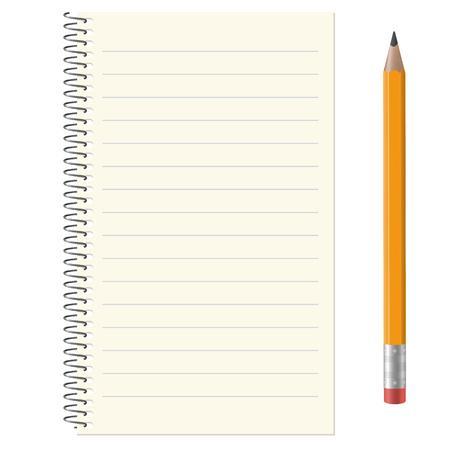 lapiz y papel: almohadilla de papel rayado con copia espacio y lápiz de color amarillo Vectores