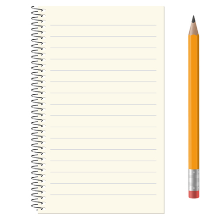 lined paper pad with copy space and yellow pencil