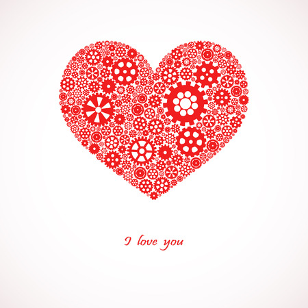 commonality: red heart consists of little and big gears with text I love you