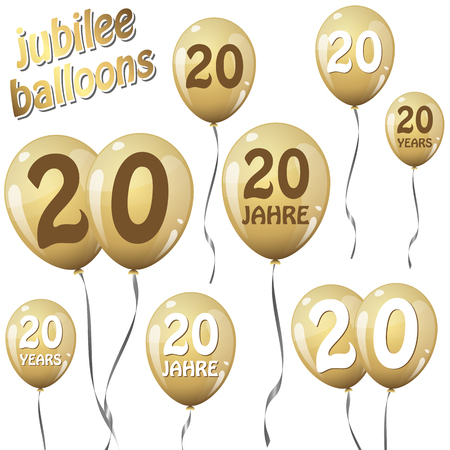 20 years: golden jubilee balloons for 20 years in english and german Illustration