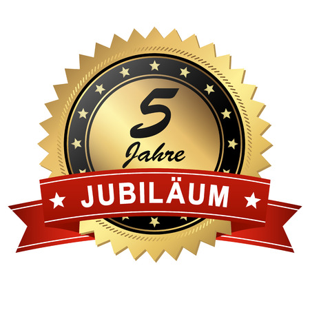 jubilant: golden jubilee medallion with red banner for 5 years Illustration