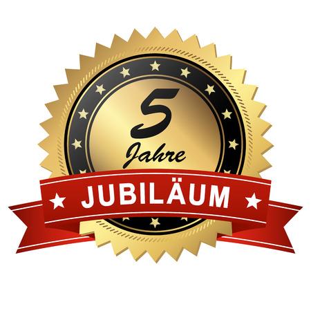 medallion: golden jubilee medallion with red banner for 5 years Illustration