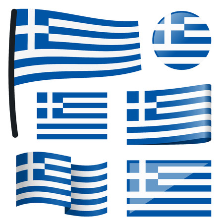customercare: collection of different swung flags of country Greece Illustration