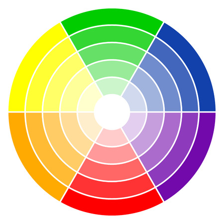 colours: illustration of printing color wheel with six colors in gradations