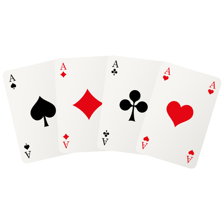 bridges: four playing cards with aces isolated on white background