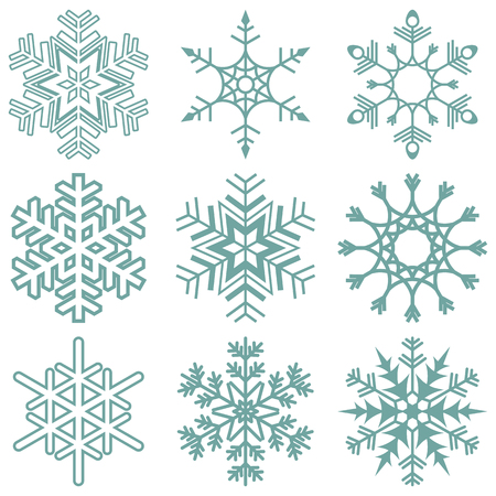 christmas snow: collection of different detailed snow flakes for christmas time Illustration