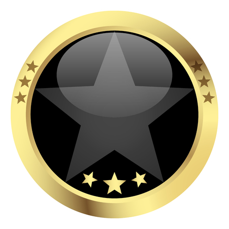 customercare: template button with golden frame and black center