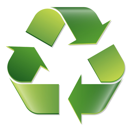 biological waste: green economic recycle sign on white background Illustration