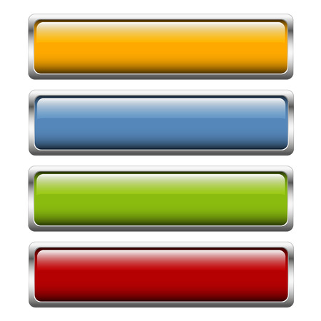 shiny buttons: collection of buttons with shiny silver frame in four colors Illustration