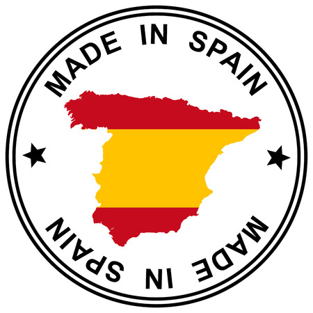 made in spain: round patch  Made in Spain  with silhouette of spain