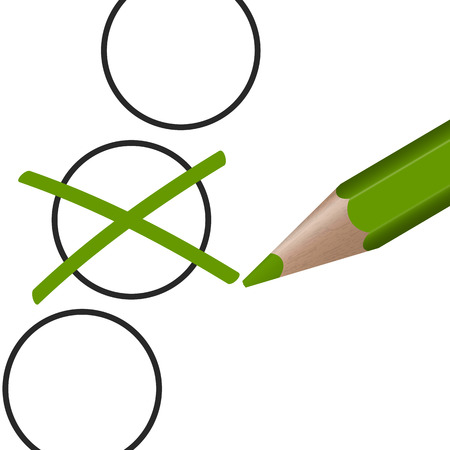 voters: green pen with cross for election symbolism
