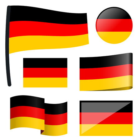customercare: collection of different swung flags of country Germany Illustration