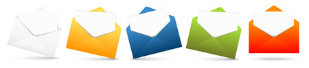 urgently: colored opened envelope row with white empty papers