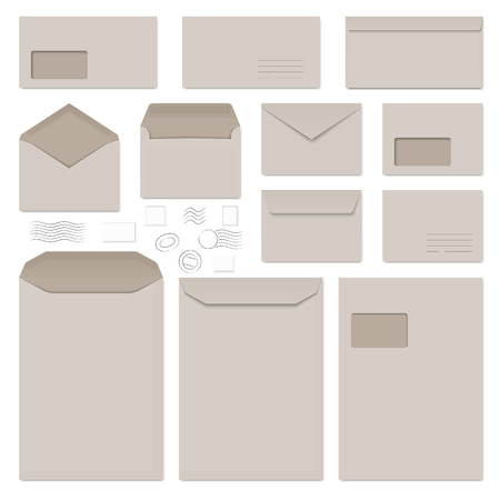 office stationery: collection of gray envelopes, note papers and postage stamps