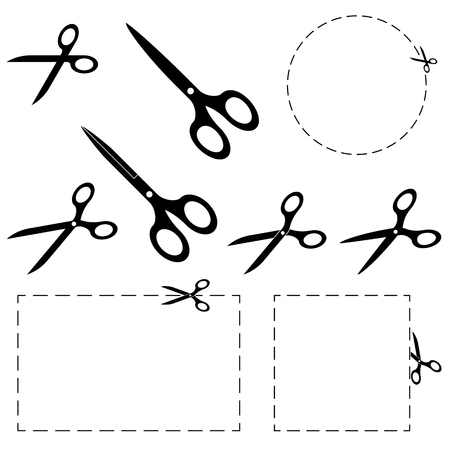 dashed: set of scissors with dashed lines for advertising usage