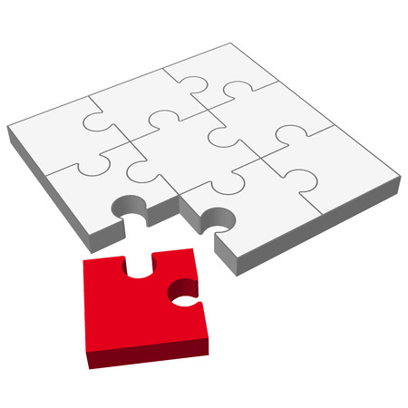 gray three dimensional puzzle with one red part who does not fit Illustration