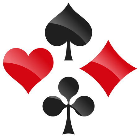 rummy: french playing cards symbols hearts, tiles, clovers and pikes with reflection Illustration