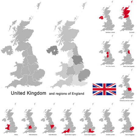 european country United Kingdom and regions of England Vectores