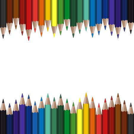 crayons de couleur transparente sur la bordure supérieure et inférieure Vecteurs