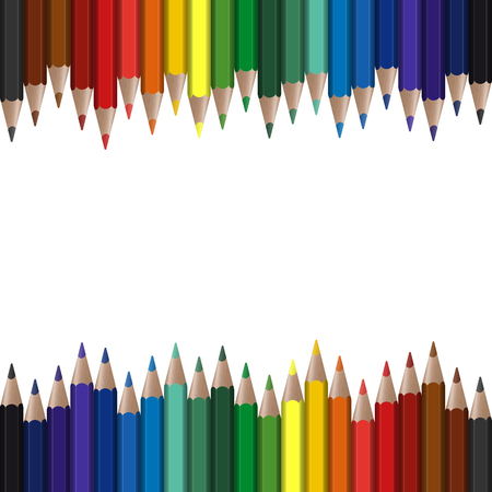 lápices de colores sin costura en el borde superior e inferior Ilustración de vector