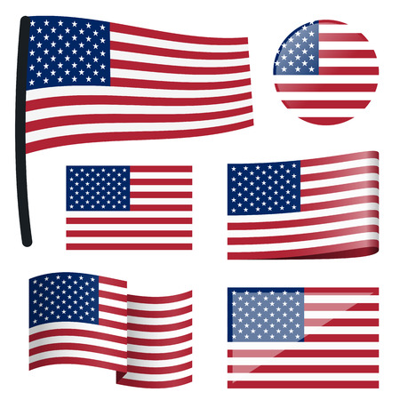 country flags: collection of different swung flags of country USA Illustration