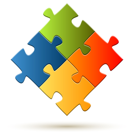 collaboration: puzzle with four colored parts symbolizing teamwork
