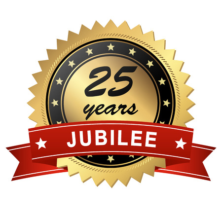 medallion: golden jubilee medallion with red banner for 25 years