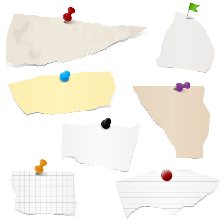 torn paper background: collection of different colored scraps of papers with pin needles Illustration