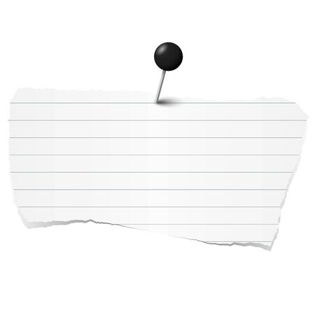 pin needle: white colored lined scrap of paper with pin needle