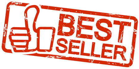 bestseller: red grunge stamp with frame, thumbs up and text BESTSELLER