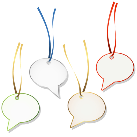hangtag: four speech bubble hang tags with ribbon