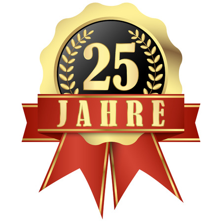 jubilee: Jubilee button with banner and ribbons for 25 years (in german) Illustration