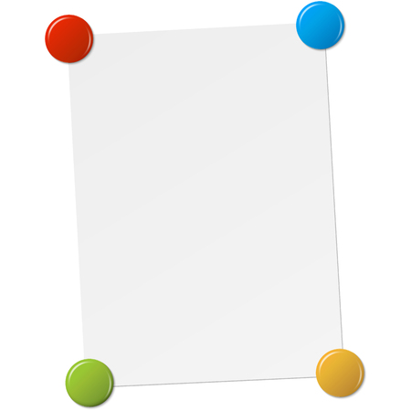 empty white paper with four colored magnets