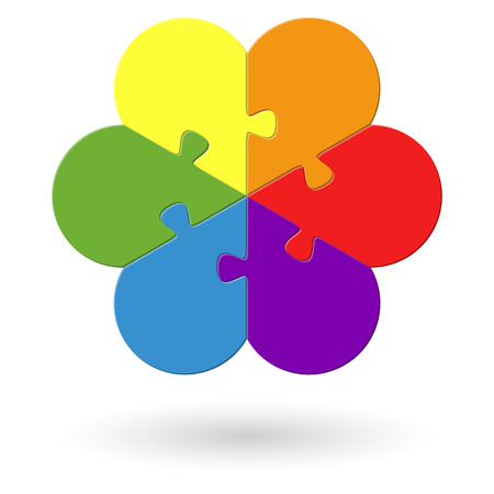 colored: round flower puzzle colored with six options